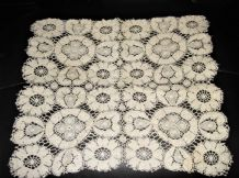 "ANTIQUE CREAM PRETTY OPEN CROCHET LACE TABLE PROTECTOR TEXTURED 13.5"" X 12"""